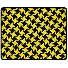 Houndstooth2 Black Marble & Gold Glitter Double Sided Fleece Blanket (medium)  by trendistuff
