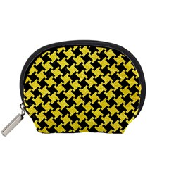 Houndstooth2 Black Marble & Gold Glitter Accessory Pouches (small)  by trendistuff