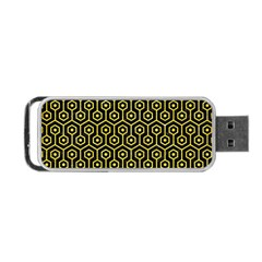 Hexagon1 Black Marble & Gold Glitter Portable Usb Flash (one Side) by trendistuff