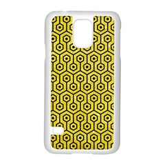 Hexagon1 Black Marble & Gold Glitter (r) Samsung Galaxy S5 Case (white) by trendistuff