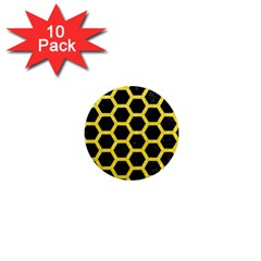 Hexagon2 Black Marble & Gold Glitter 1  Mini Magnet (10 Pack)  by trendistuff