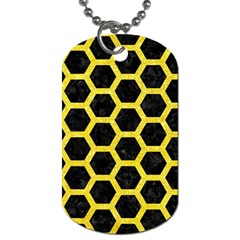 Hexagon2 Black Marble & Gold Glitter Dog Tag (one Side) by trendistuff