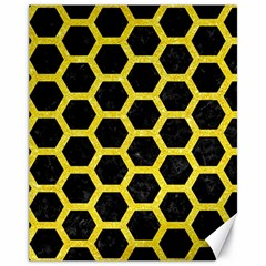 Hexagon2 Black Marble & Gold Glitter Canvas 11  X 14   by trendistuff