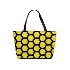 Hexagon2 Black Marble & Gold Glitter (r) Shoulder Handbags by trendistuff