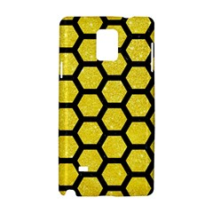 Hexagon2 Black Marble & Gold Glitter (r) Samsung Galaxy Note 4 Hardshell Case by trendistuff