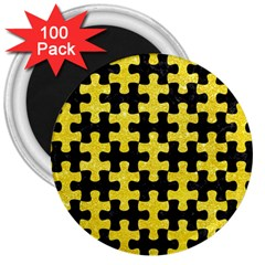 Puzzle1 Black Marble & Gold Glitter 3  Magnets (100 Pack) by trendistuff