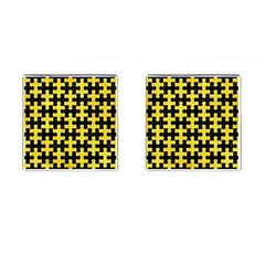 Puzzle1 Black Marble & Gold Glitter Cufflinks (square) by trendistuff