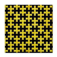 Puzzle1 Black Marble & Gold Glitter Face Towel