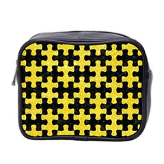 Puzzle1 Black Marble & Gold Glitter Mini Toiletries Bag 2 Side by trendistuff