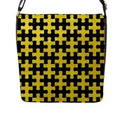 Puzzle1 Black Marble & Gold Glitter Flap Messenger Bag (l)