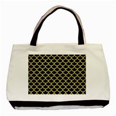 Scales1 Black Marble & Gold Glitter Basic Tote Bag by trendistuff