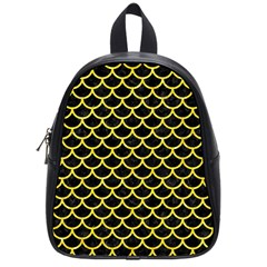 Scales1 Black Marble & Gold Glitter School Bag (small) by trendistuff