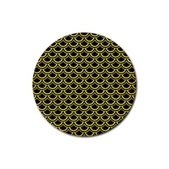 Scales2 Black Marble & Gold Glitterscales2 Black Marble & Gold Glitter Rubber Coaster (round)