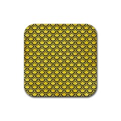 Scales2 Black Marble & Gold Glitter (r) Rubber Square Coaster (4 Pack)  by trendistuff