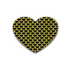 Scales3 Black Marble & Gold Glitter Heart Coaster (4 Pack)  by trendistuff