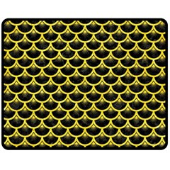 Scales3 Black Marble & Gold Glitter Fleece Blanket (medium)  by trendistuff