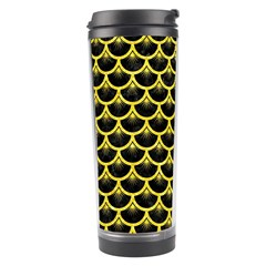 Scales3 Black Marble & Gold Glitter Travel Tumbler by trendistuff