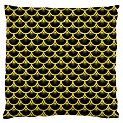 Scales3 Black Marble & Gold Glitter Large Flano Cushion Case (two Sides) by trendistuff