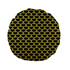 Scales3 Black Marble & Gold Glitter Standard 15  Premium Flano Round Cushions by trendistuff