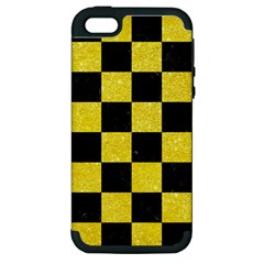 Square1 Black Marble & Gold Glitter Apple Iphone 5 Hardshell Case (pc+silicone) by trendistuff