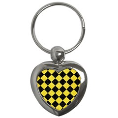Square2 Black Marble & Gold Glitter Key Chains (heart)  by trendistuff