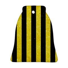Stripes1 Black Marble & Gold Glitter Ornament (bell) by trendistuff