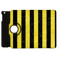 Stripes1 Black Marble & Gold Glitter Apple Ipad Mini Flip 360 Case by trendistuff