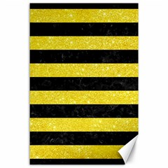 Stripes2 Black Marble & Gold Glitter Canvas 24  X 36  by trendistuff