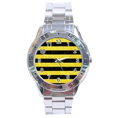 Stripes2 Black Marble & Gold Glitter Stainless Steel Analogue Watch by trendistuff
