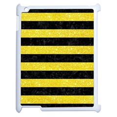 Stripes2 Black Marble & Gold Glitter Apple Ipad 2 Case (white) by trendistuff