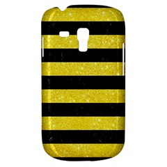 Stripes2 Black Marble & Gold Glitter Galaxy S3 Mini by trendistuff