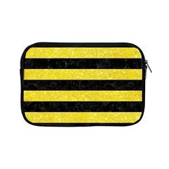 Stripes2 Black Marble & Gold Glitter Apple Ipad Mini Zipper Cases by trendistuff