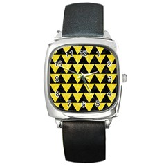 Triangle2 Black Marble & Gold Glitter Square Metal Watch by trendistuff