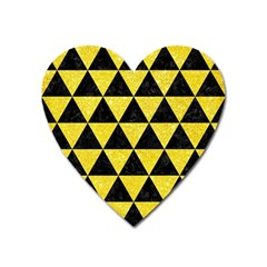 Triangle3 Black Marble & Gold Glitter Heart Magnet by trendistuff