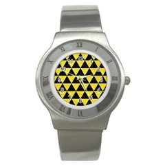 Triangle3 Black Marble & Gold Glitter Stainless Steel Watch by trendistuff