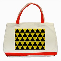 Triangle3 Black Marble & Gold Glitter Classic Tote Bag (red) by trendistuff