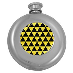 Triangle3 Black Marble & Gold Glitter Round Hip Flask (5 Oz) by trendistuff