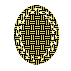 Woven1 Black Marble & Gold Glitter Ornament (oval Filigree) by trendistuff