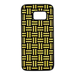 Woven1 Black Marble & Gold Glitter Samsung Galaxy S7 Black Seamless Case by trendistuff