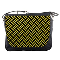 Woven2 Black Marble & Gold Glitter Messenger Bags by trendistuff