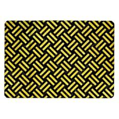 Woven2 Black Marble & Gold Glitter Samsung Galaxy Tab 10 1  P7500 Flip Case by trendistuff