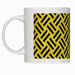 Woven2 Black Marble & Gold Glitter (r) White Mugs by trendistuff