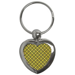 Woven2 Black Marble & Gold Glitter (r) Key Chains (heart)  by trendistuff