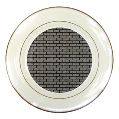 Brick1 Black Marble & Gray Colored Pencil (r) Porcelain Plates by trendistuff