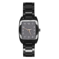 Brick1 Black Marble & Gray Colored Pencil (r) Stainless Steel Barrel Watch by trendistuff