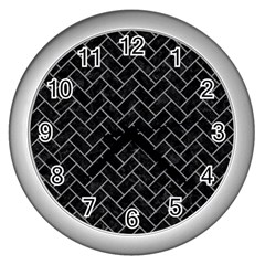 Brick2 Black Marble & Gray Colored Pencilbrick2 Black Marble & Gray Colored Pencil Wall Clocks (silver)  by trendistuff