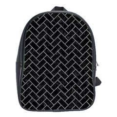 Brick2 Black Marble & Gray Colored Pencilbrick2 Black Marble & Gray Colored Pencil School Bag (large) by trendistuff