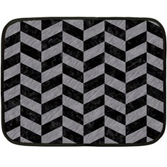 Chevron1 Black Marble & Gray Colored Pencil Fleece Blanket (mini) by trendistuff
