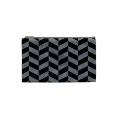 Chevron1 Black Marble & Gray Colored Pencil Cosmetic Bag (small)  by trendistuff