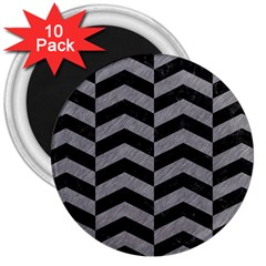 Chevron2 Black Marble & Gray Colored Pencil 3  Magnets (10 Pack)  by trendistuff